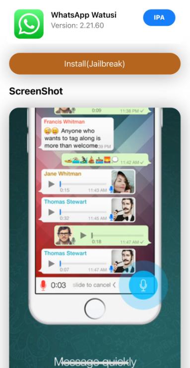 whatsapp watusi ios install
