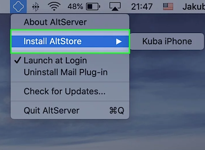 click on Install Altstore